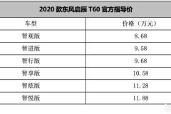 2020款东风启辰T60上市 售8.68-11.88万