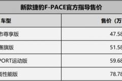 捷豹路虎多款新车上市 售47.58-321.30万元