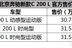 搭载1.5T四缸发动机 新款奔驰C 200 L上市