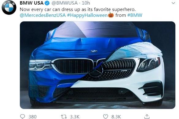 万圣节BMW又调侃了Benz一把,奔驰怂了?戴姆勒回应...