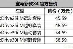 全系配置提升 宝马新款X4售45.59万起