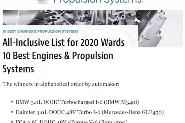 2020沃德十佳动力总成榜单公布,大排量占一半儿