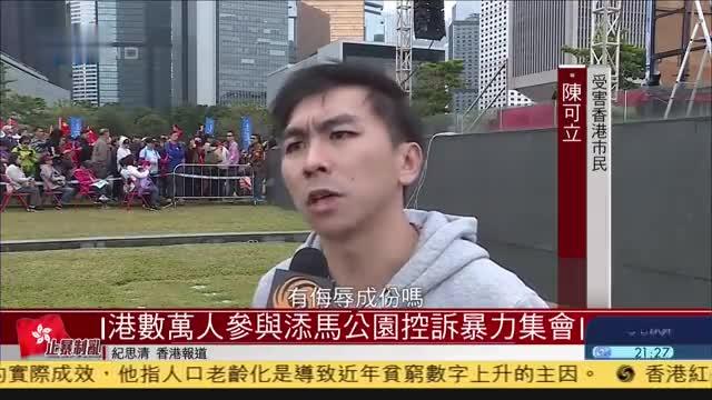 香港数万人参与添马公园控诉暴力集会