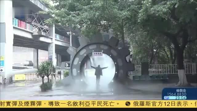 重庆一公司自造消毒隧道员工出入