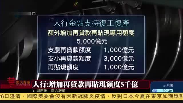中国人民银行增加再贷款再贴现额度5千亿
