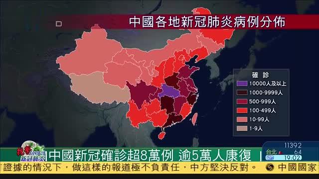 中国各地新冠肺炎确诊超8万例,逾5万人康复