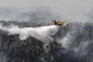 希腊埃维亚岛火灾持续 直升机出动灭火