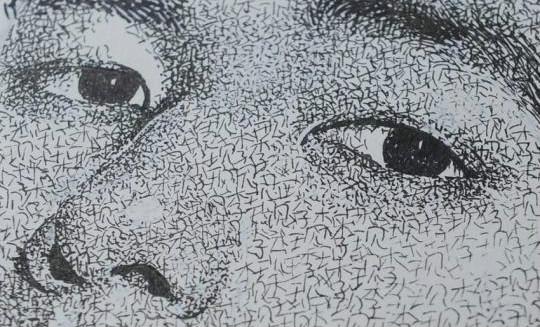 """小伙自创""""名字画"""" 书写万遍拼成逼真肖像"""