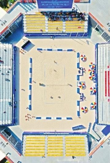 军运会沙滩排球赛场成新地标如画风景惊艳运动员