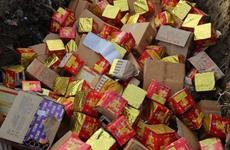 西安警方集中销毁3885件违禁烟花爆竹