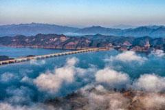 航拍武宁平流雾美景