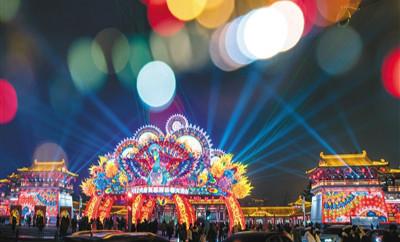 西安大唐芙蓉园世界最大立式灯笼亮灯 获吉尼斯认证