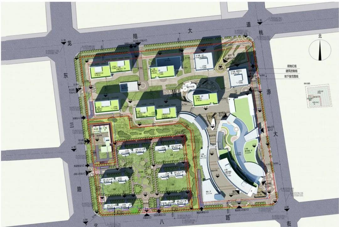 凤观青岛  安置区总平面图 从总平面图规划图来看,安置区北侧将新建5