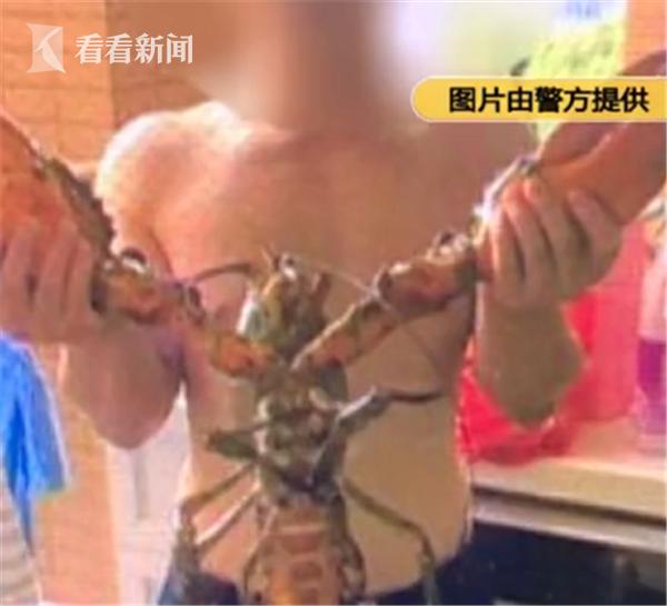 男子偷走8斤重龙虾 煮熟前还合影留念