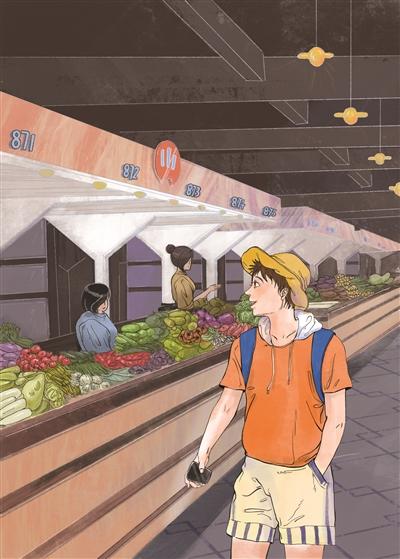 小沈走进附近的农贸市场,叫卖声此起彼伏,蔬菜档口整整齐齐。在这个刚刚改造升级过的市场里,买菜是件舒服的事情。