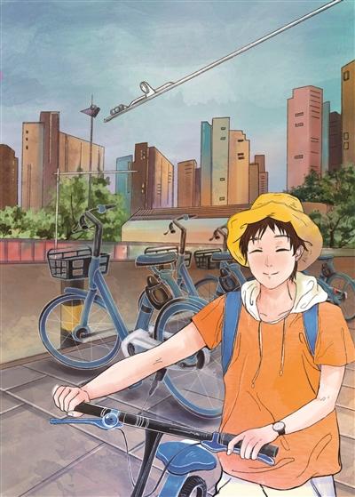 小沈看到路边停靠整齐的共享单车,便扫了一辆。