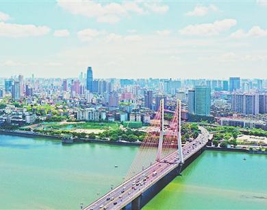 航拍南昌赣江两岸:都市画卷 景色迷人