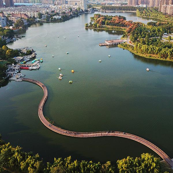航拍蚌埠张公湖:珠城湖景秋意盎然