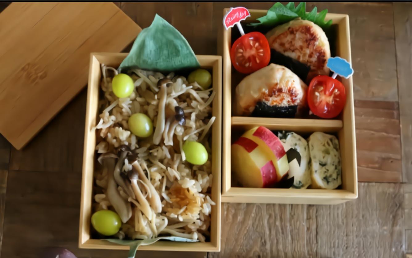 教你做蘑菇白果炊饭&可爱的饭团便当