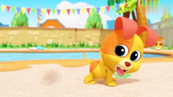 益智英语动漫:全家来到泳池边,营造沙滩美景,大家开心玩耍