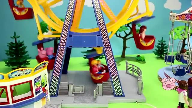 小猪佩奇玩具:小猪佩奇去儿童乐园玩,坐摩天轮、荡秋千、旋转车