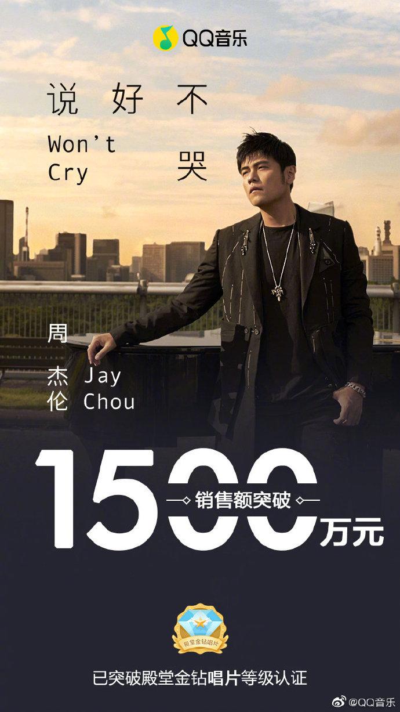 QQ音乐:周杰伦新单曲《说好不哭》销售额突破1500万元