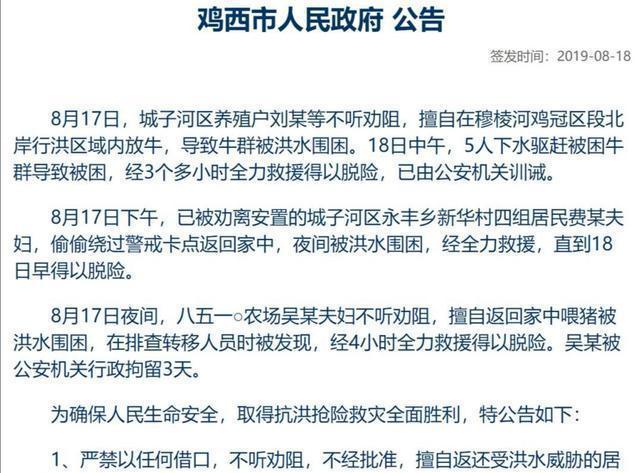 黑龙江农户不听劝回家喂猪遭洪水围困 救援4小时脱险后被拘