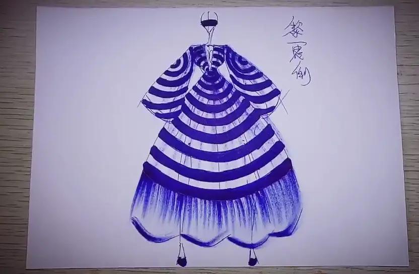 服装设计技法水彩画手绘面料之 蛇皮纹图案图片