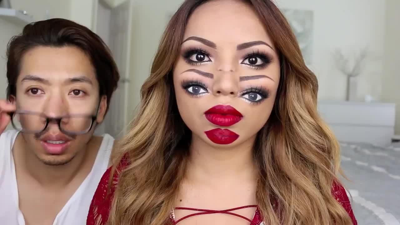 国外女子另类美妆:这幅奇葩妆容你看的眼晕吗?