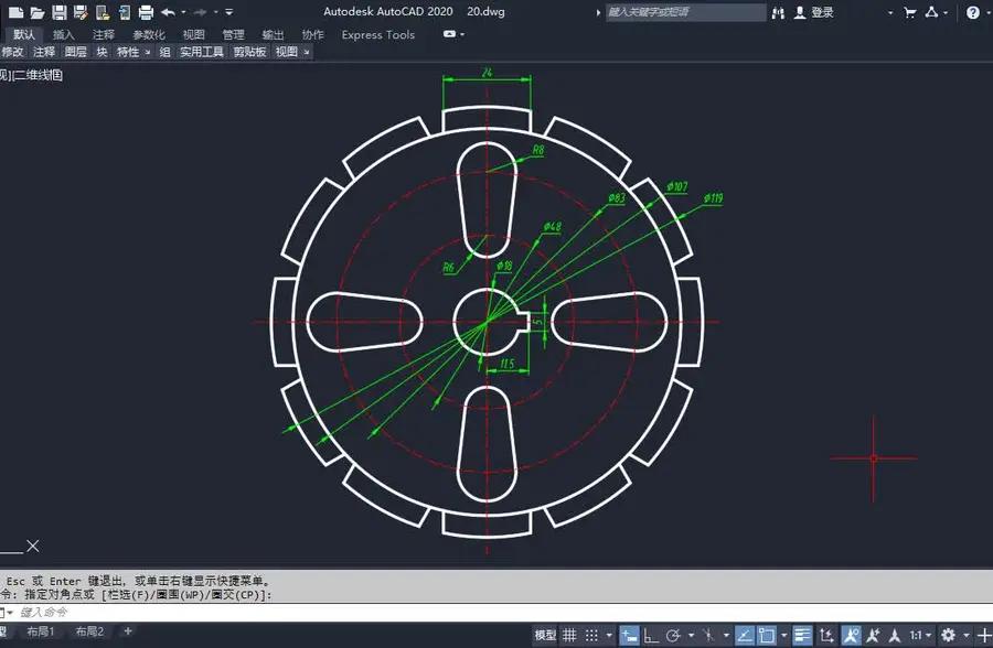 cad平面综合练习 用到复制阵列,捕捉自定位等