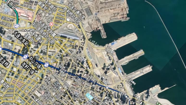 卫星地图实景看大连造船厂,真是