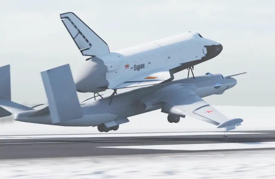 超珍贵的视频,野牛轰炸机驮着暴风雪航天飞机起飞