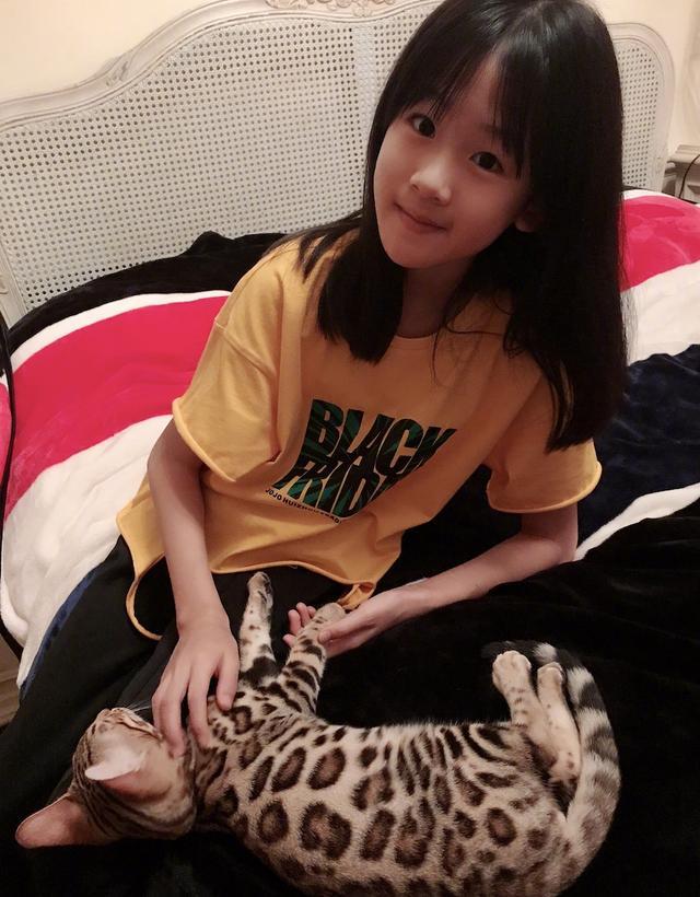 陆毅晒女儿甜美近照,贝儿收养豹纹宠物猫,开心到表情失控