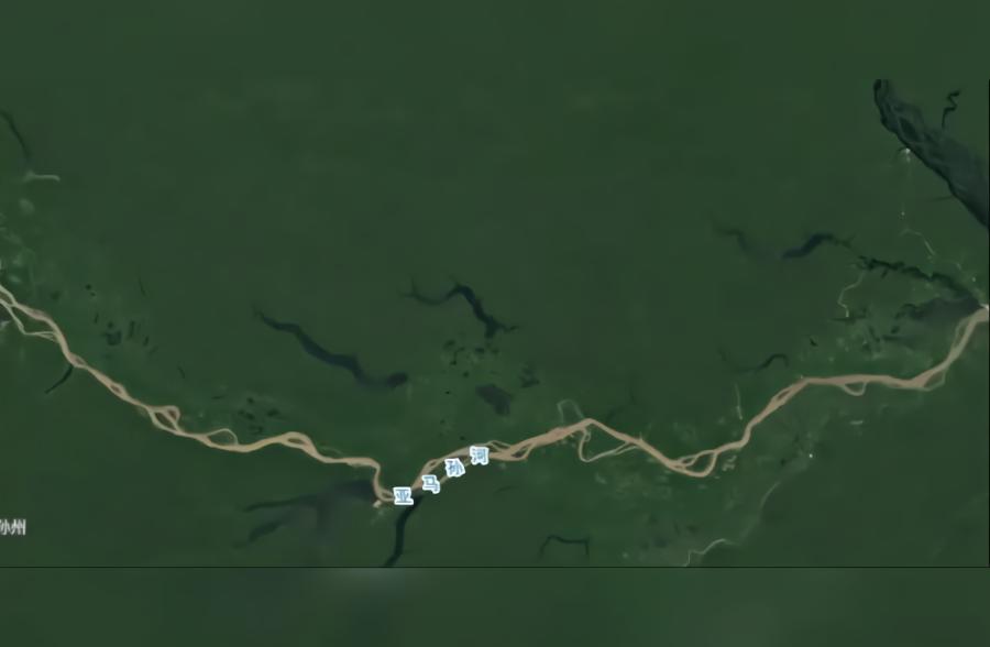 卫星地图实景看亚马逊热带雨林一片绿色,不愧是