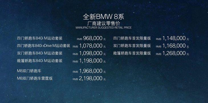 2019成都车展:宝马8系家族售96.8万元起 造型激进