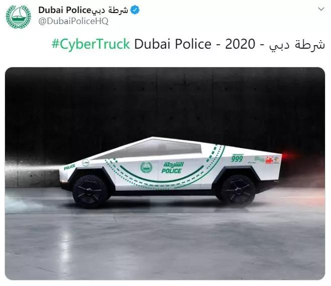 迪拜警车队,特斯拉皮卡去了能干