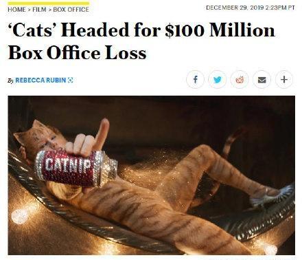 损失惨重!电影《猫》票房惨淡 被曝巨亏1亿美元