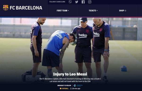 巴萨官方:梅西训练中右腿受伤 将不会随队前往美国