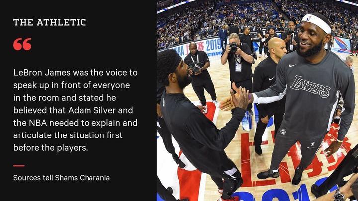 詹姆斯:在球員發聲之前,蕭華和NBA應該先解釋