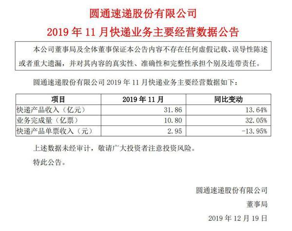 圆通公布11月快递业务营收数据公告_大风号_凤凰网