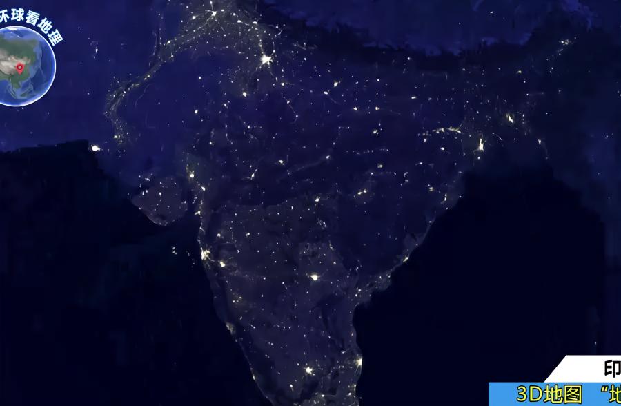 卫星夜景图看不可思议的印度,都是平原没山脉阻挡,灯光真亮啊