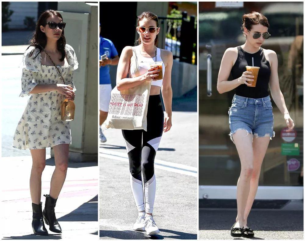 艾玛罗伯茨白T短裤穿成小个典范,胶囊包个性,儿时塑料凉鞋抢镜