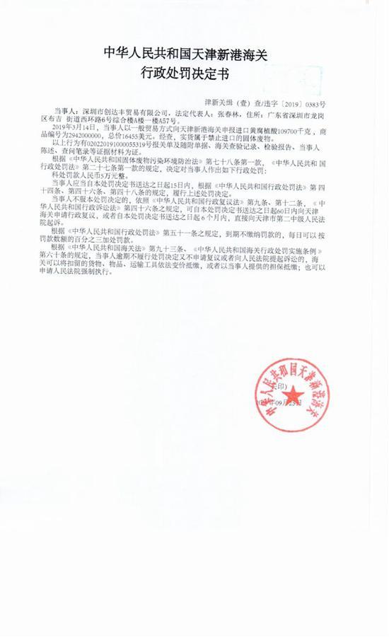 深圳市创达丰商业有限公司涉嫌限制进口