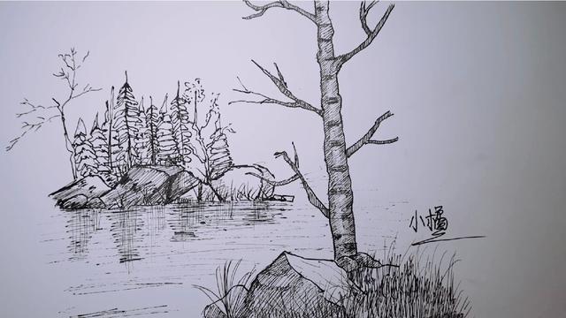 河边小景一处,简单的风景画,绘画全过程