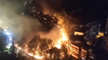 江门大云山发生山火 现场火势凶猛形成数米长火龙