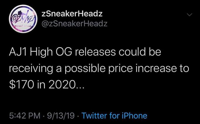 Air Jordan(空中飞人) 1 将于2020年涨价?这波你怎么看