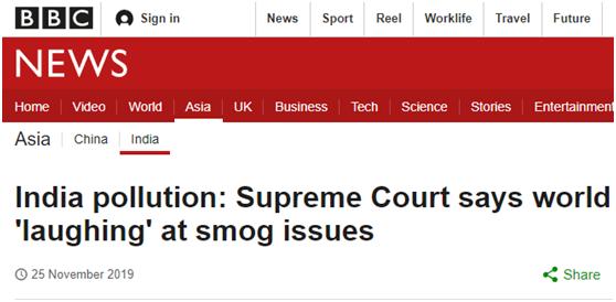 """政府治理雾霾失败,印度最高法院急了:全世界都在""""嘲笑印度"""""""
