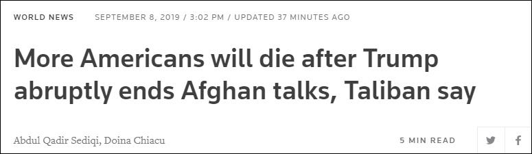 塔利班喊话特朗普:等着死更多美国人吧