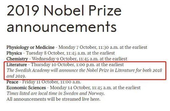 2019年诺贝尔文学奖 10月10日揭晓 预测名单出炉