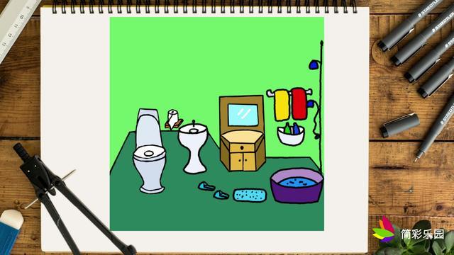 简单易学的浴室简笔画步骤图,轻松变身绘画达人